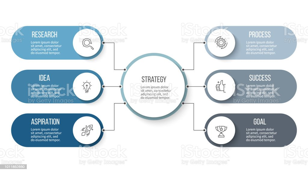 Business infographic. Organization chart with 6 options. Vector...