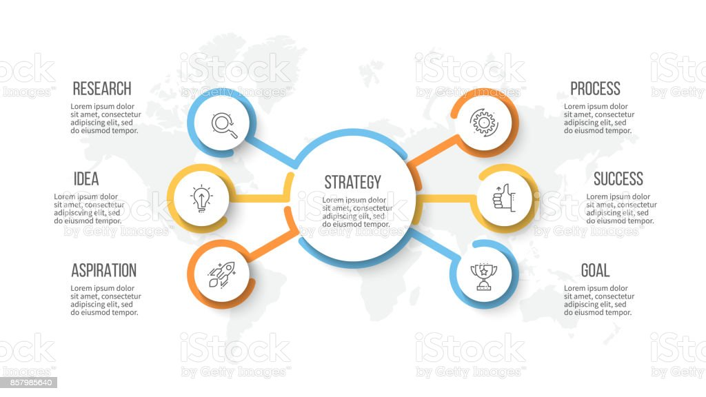 business infographic organization chart with 6 options vector