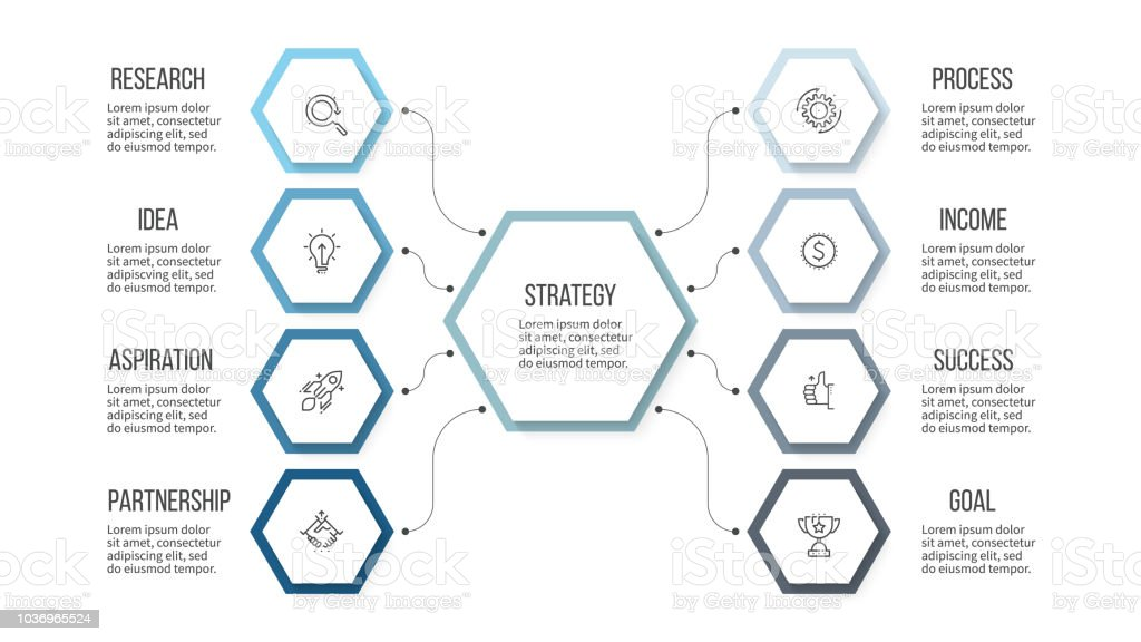 Business infographic. Organization chart with 8 options, hexagons....