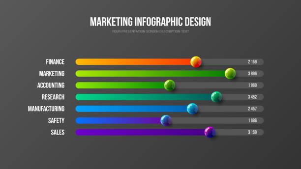 illustrazioni stock, clip art, cartoni animati e icone di tendenza di business infographic presentation vector 3d colorful balls illustration. - banchi scuola