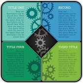 Infographic template with four stages. CMYK global colours.