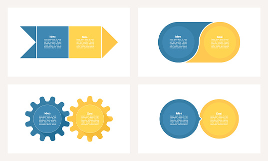 Business infographic template. Process with 2 steps, options, sections. Vector chart.