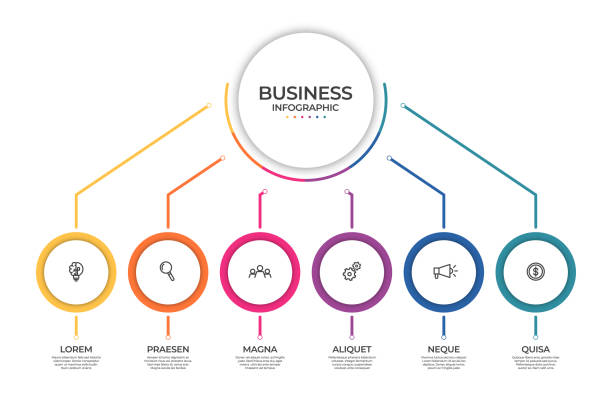 Business infographic template. Timeline concept for presentation, report, infographic and business data visualization. Round design elements with space for text vector art illustration
