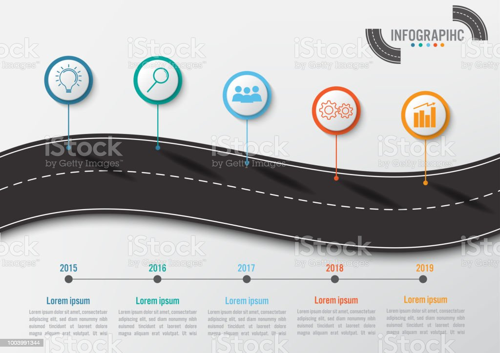 Business infographic template with 5 options road shape abstract business infographic template with 5 options road shape abstract elements diagram or processes and business ccuart Image collections
