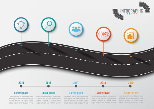 Business Infographic Template With 5 Options Road Shape Abstract Elements  Diagram Or Processes And Business Flat Icon Vector Business Template For