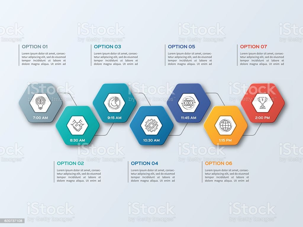 Business infographic template with 7 steps royalty-free stock vector art