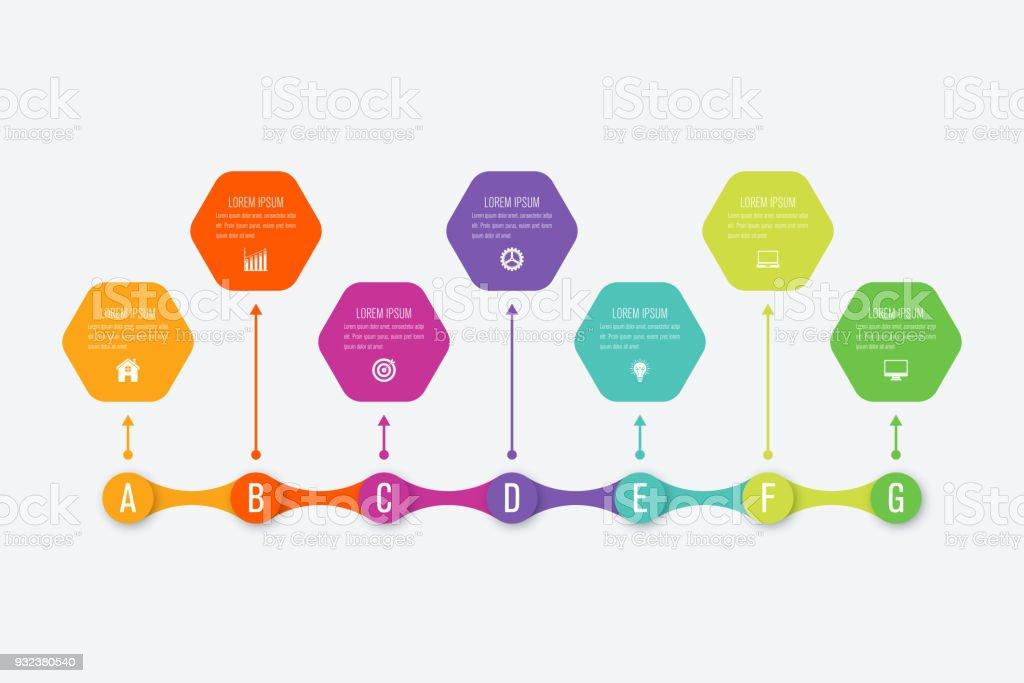 Ilustración de Plantilla De Infografía Negocio Con 7 Pasos y más ...