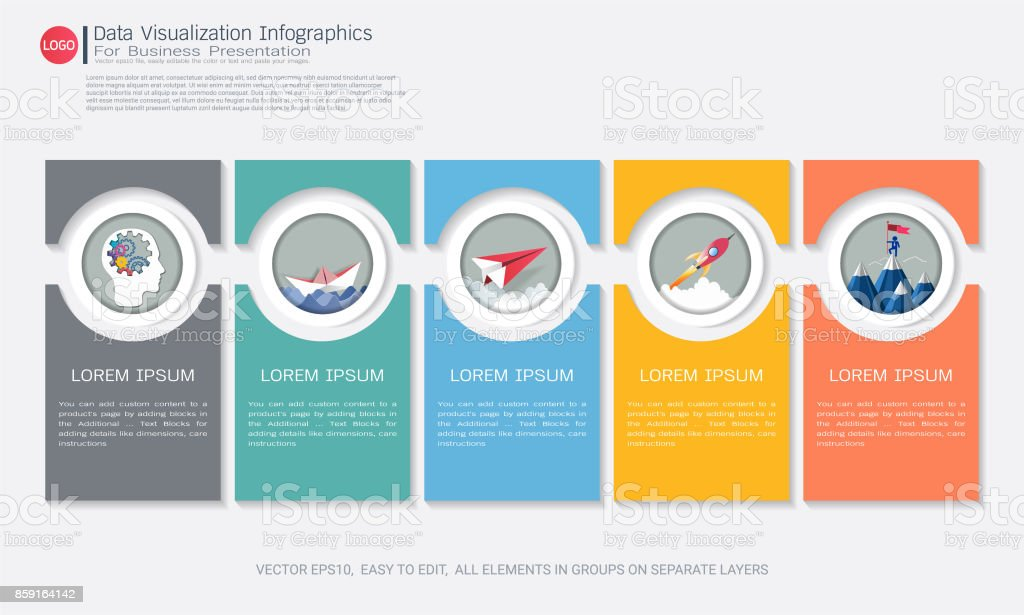 Business Infographic template with five steps or options, Communicates data through charts, graphs, Make facts and statistics more interesting, Make data-driven arguments easier to understand. - ilustração de arte vetorial