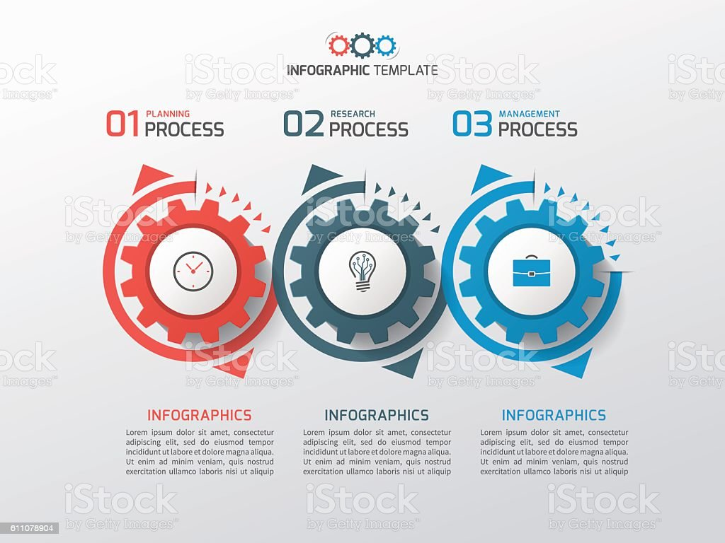 Business infographic template with gears cogwheels 3 steps royalty-free stock vector art