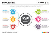 Infographic business template, 6 options, icon, data
