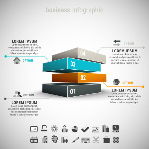business infographic - blocks stock illustrations, clip art, cartoons, & icons
