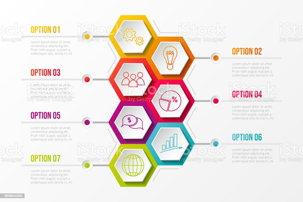Business infographic with hexagonal icons. Vector. vector art illustration