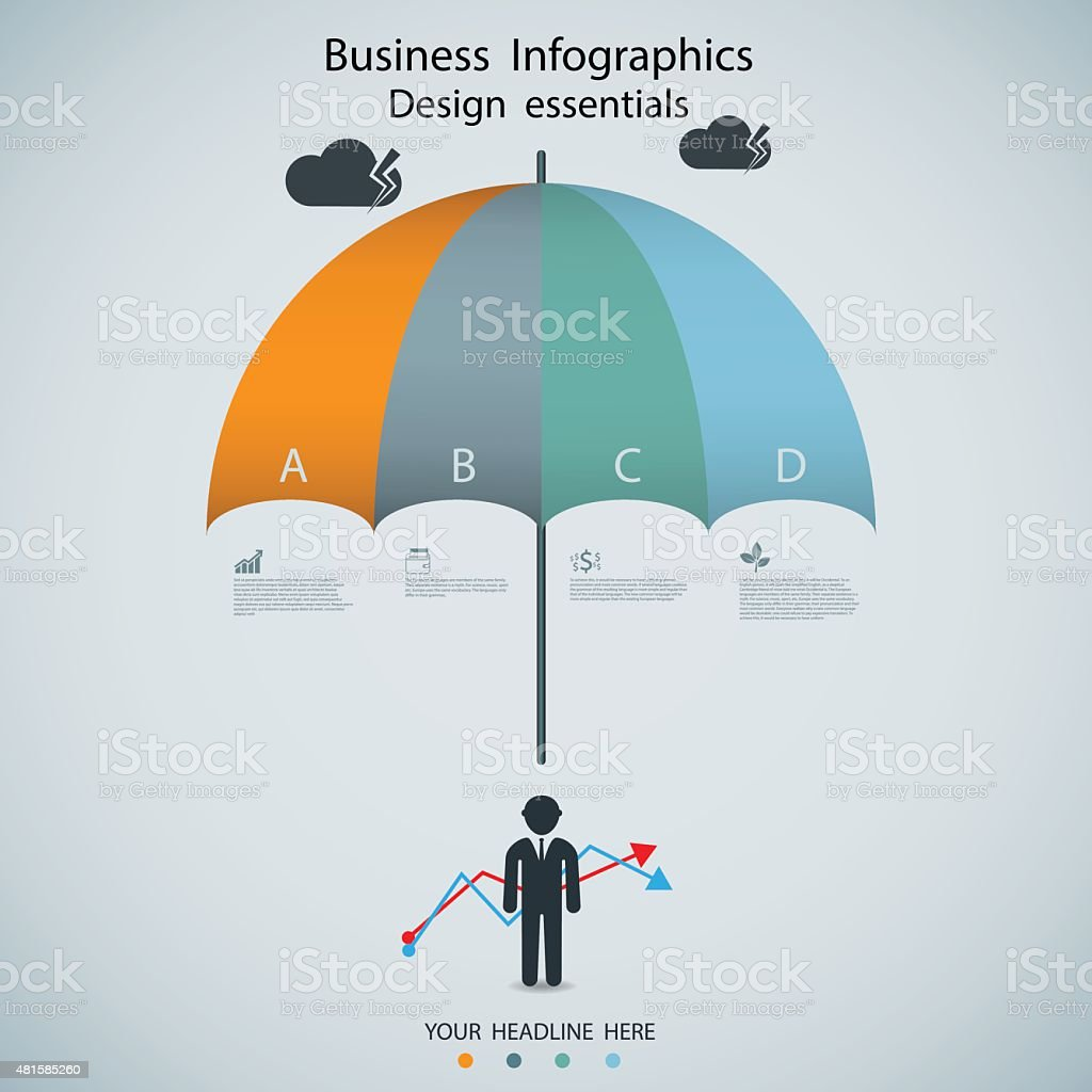 business infographic with umbrella options banner. Vector vector art illustration