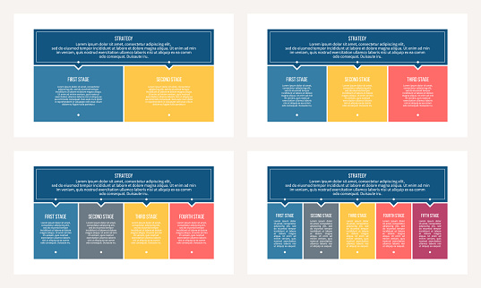 Business infographics. Banner with 2, 3, 4, 5 steps, options, sections. Vector template.