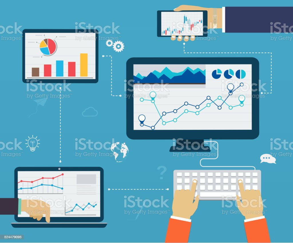 Business infographics by using modern of digital devices, reporting vector art illustration