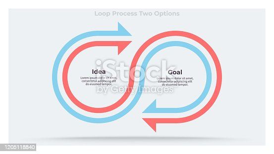 istock Business infographics. Chart with 2 steps, options, sections. Vector template. 1205118840