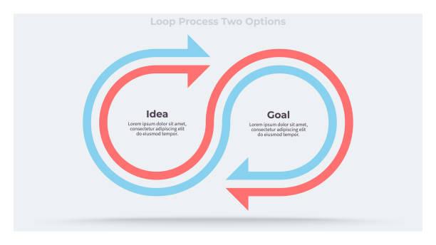 ilustrações, clipart, desenhos animados e ícones de infográficos de negócios. gráfico com 2 etapas, opções, seções. modelo vetorial. - dois objetos