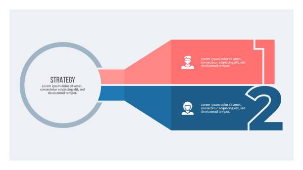 ilustrações, clipart, desenhos animados e ícones de infográficos de negócios. gráfico com 2 passos, opções, seções. modelo vetorial. - dois objetos