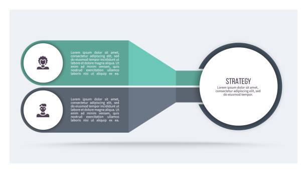 bildbanksillustrationer, clip art samt tecknat material och ikoner med business infographics. diagram med 2 steg, alternativ, avsnitt. mall för vektor. - två objekt