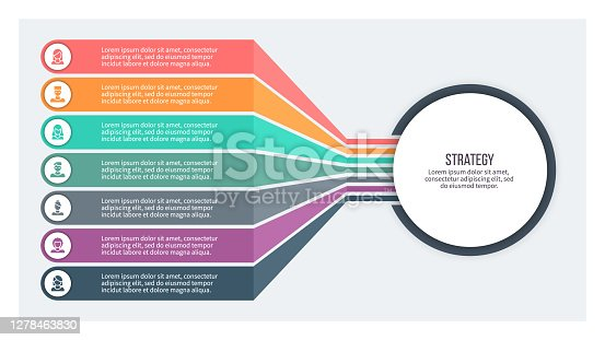 istock Business infographics. Chart with 7 steps, options, sections. Vector template. 1278463830