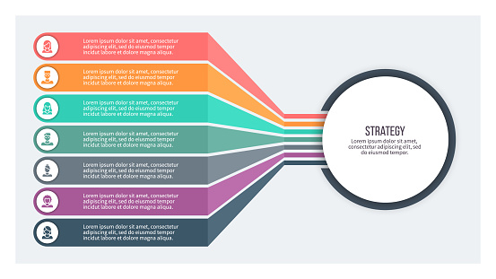 Business infographics. Chart with 7 steps, options, sections. Vector template.