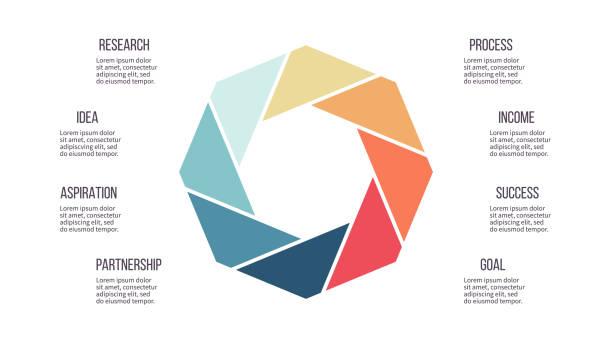 stockillustraties, clipart, cartoons en iconen met zakelijke infographics. grafiek met 8 stappen, opties, secties. vector sjabloon. - achthoek