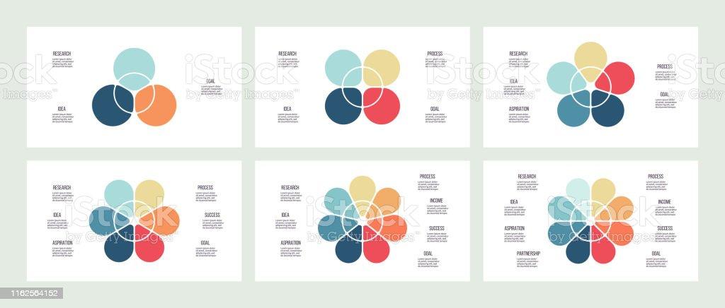 Infographie d'affaires. Graphiques avec 3, 4, 5, 6, 7, 8 sections, pétales. Modèles vectoriels. - clipart vectoriel de Affaires libre de droits