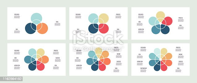 Business infographics. Charts with 3, 4, 5, 6, 7, 8 sections, petals. Vector templates.