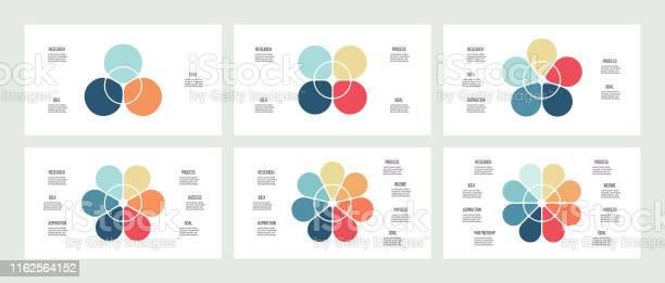 Infographie Daffaires Graphiques Avec 3 4 5 6 7 8 Sections Pétales Modèles Vectoriels Vecteurs libres de droits et plus d'images vectorielles de Affaires