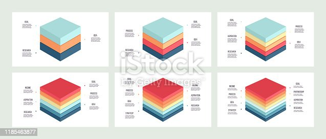 Business infographics. Charts with 3, 4, 5, 6, 7, 8 steps, levels, sections. Vector template.