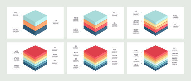Business infographics. Charts with 3, 4, 5, 6, 7, 8 steps, levels, sections. Vector template. Business infographics. Charts with 3, 4, 5, 6, 7, 8 steps, levels, sections. Vector template. layered stock illustrations