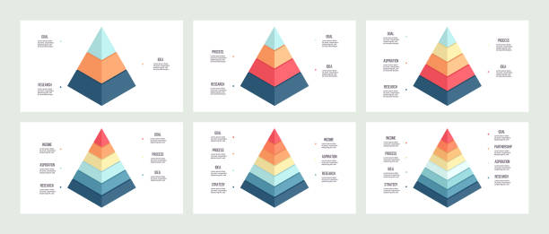 Business infographics. Charts with 3, 4, 5, 6, 7, 8 steps, options, levels. Vector template. Business infographics. Charts with 3, 4, 5, 6, 7, 8 steps, options, levels. Vector template. layered stock illustrations