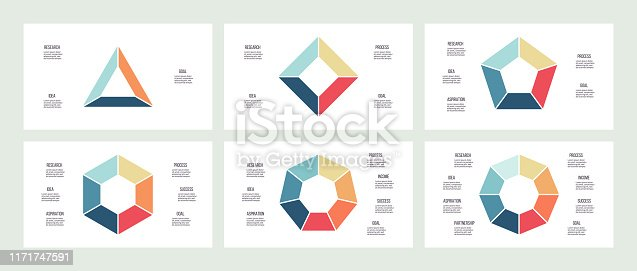 Business infographics. Charts with 3, 4, 5, 6, 7, 8 steps, options, sections. Vector template.