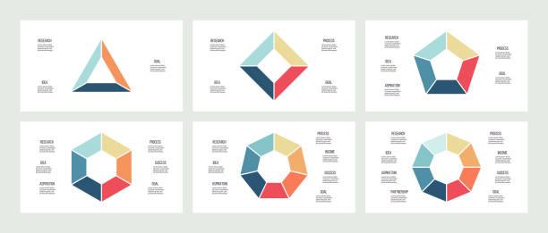 stockillustraties, clipart, cartoons en iconen met zakelijke infographics. grafieken met 3, 4, 5, 6, 7, 8 stappen, opties, secties. vector sjabloon. - driehoek