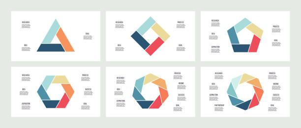 stockillustraties, clipart, cartoons en iconen met zakelijke infographics. grafieken met 3, 4, 5, 6, 7, 8 stappen, opties, secties. vector sjabloon. - achthoek