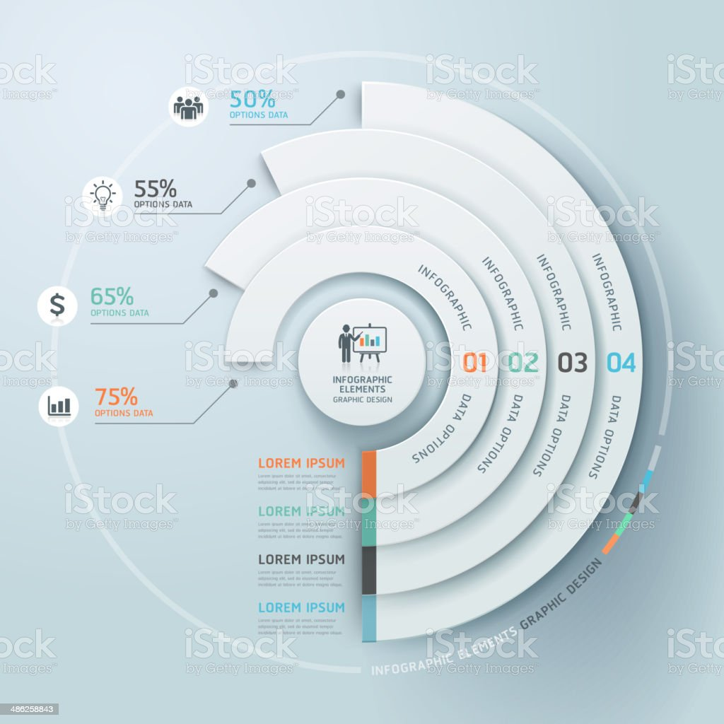 Business Infographics circle origami style. vector art illustration