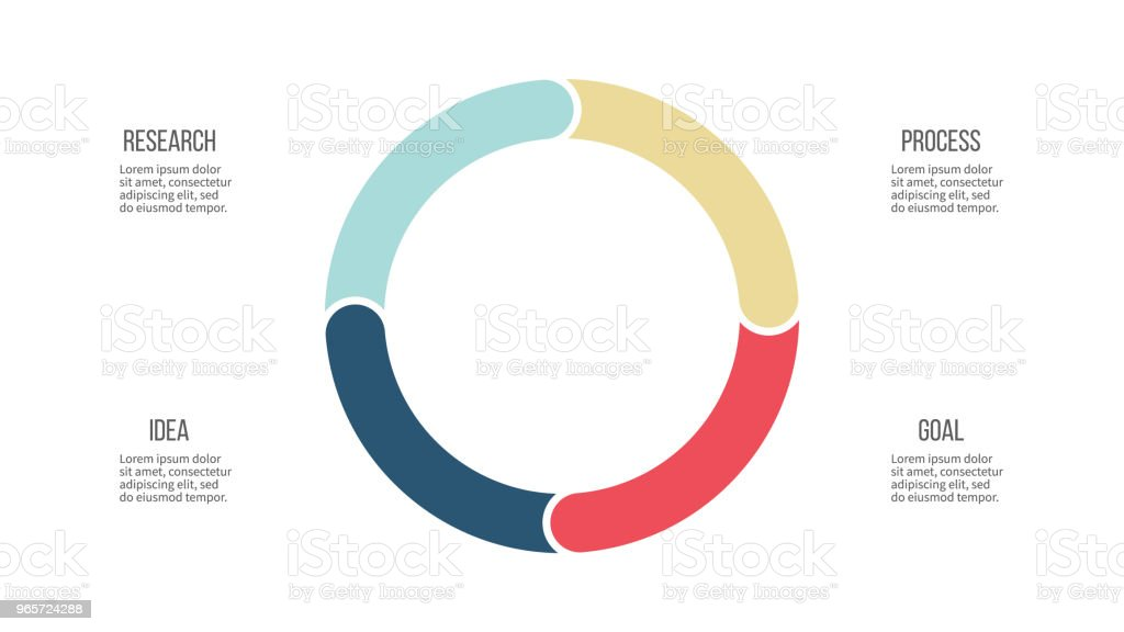 Business infographics. Circle with 4 parts, options. Vector template. - Royalty-free Abstract stock vector