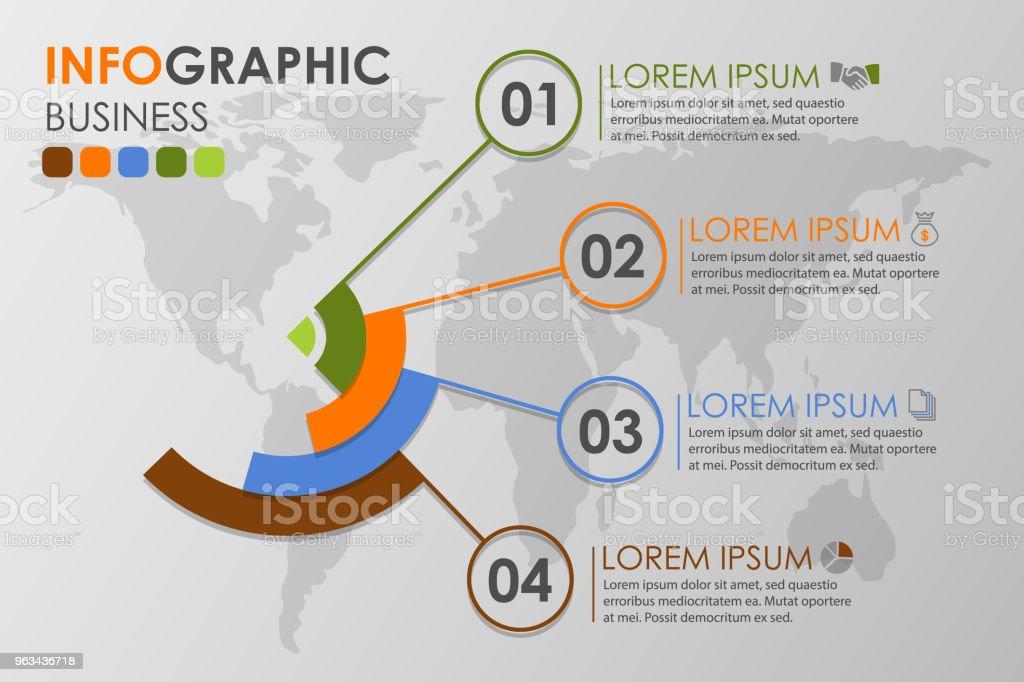 Infografiki biznesowe krążą z 4-stopniowymi ikonami biznesowymi i ikonami świata oraz mapą świata w tle,Abstrakcyjne elementy diagramu. Kreatywna koncepcja infografiki. - Grafika wektorowa royalty-free (Abstrakcja)