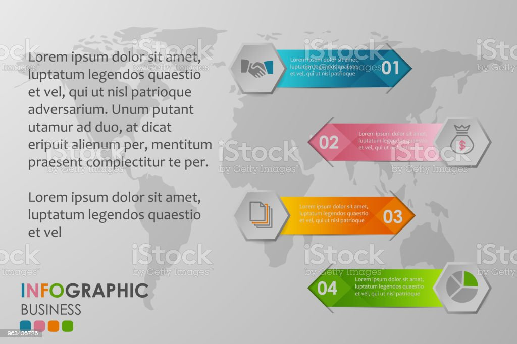 Business infographics circle with 4 step and business icons and world map in background,Abstract elements of diagram.Creative concept for infographic. - Grafika wektorowa royalty-free (Abstrakcja)