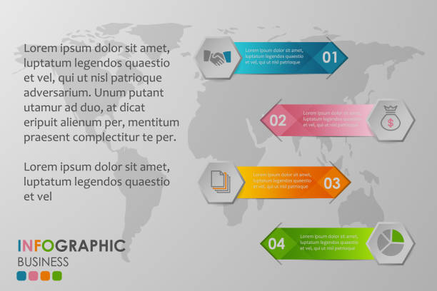 Business infographics circle with 4 step and business icons and world map in background,Abstract elements of diagram.Creative concept for infographic. – artystyczna grafika wektorowa