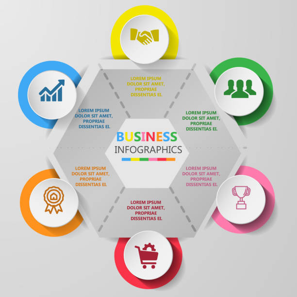Business infographics circle with 6 step and business icons and world map in background,Abstract elements of diagram.Creative concept for infographic. – artystyczna grafika wektorowa