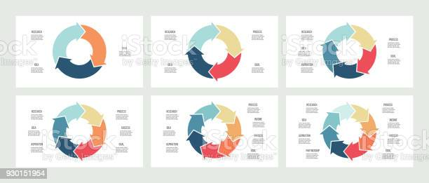 Business infographics circles with 3 5 7 8 steps arrows vector vector id930151954?b=1&k=6&m=930151954&s=612x612&h=9p8k6qd9no471ar4gvyrbzdwtaubjsbcf9ieqtpy0no=