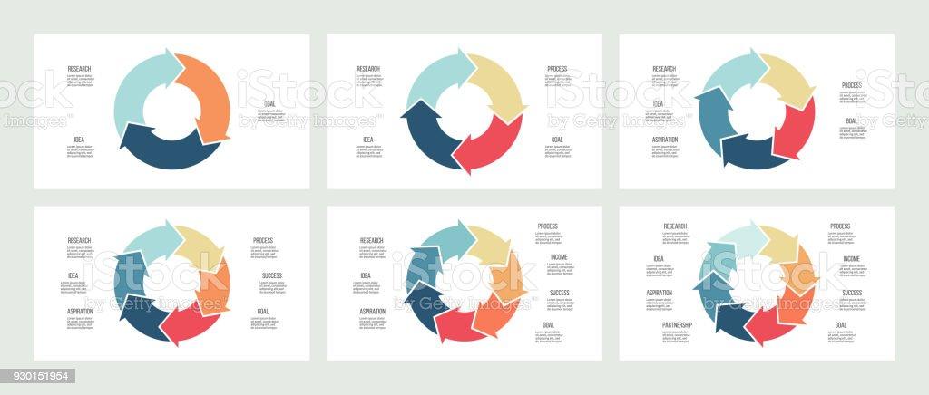 Business infographics. Circles with 3, 4, 5, 6, 7, 8 steps, arrows. Vector templates. – artystyczna grafika wektorowa