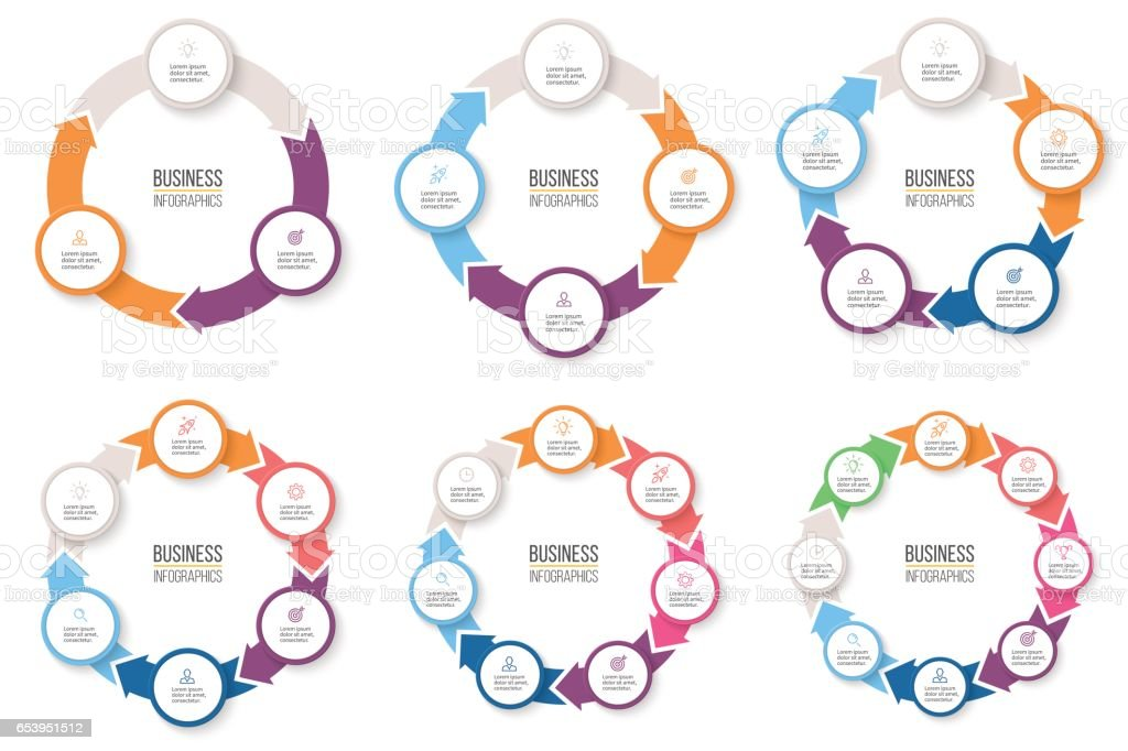 Business infographics. Circular arrows with 3-8 steps, options. Vector pie charts. royalty-free business infographics circular arrows with 38 steps options vector pie charts stock illustration - download image now