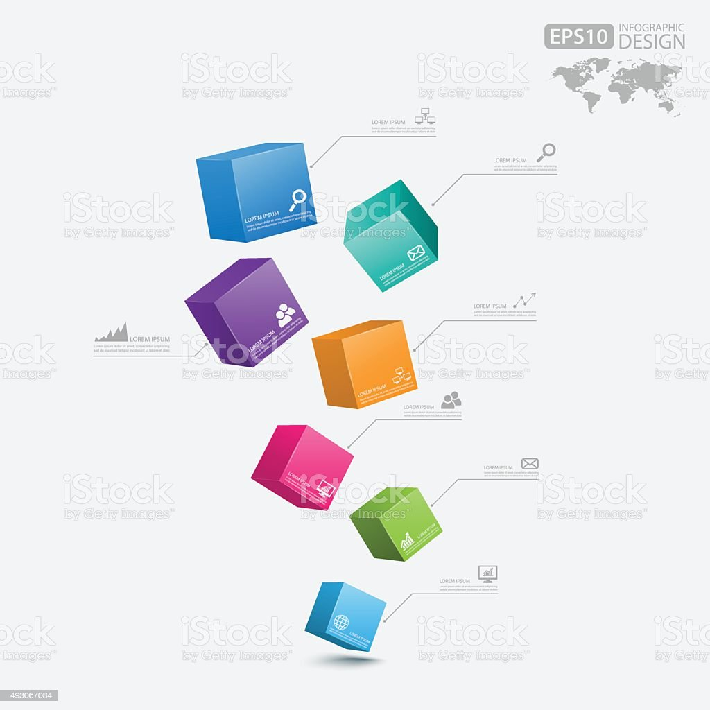 Business Infographics cube 3d,vector vector art illustration