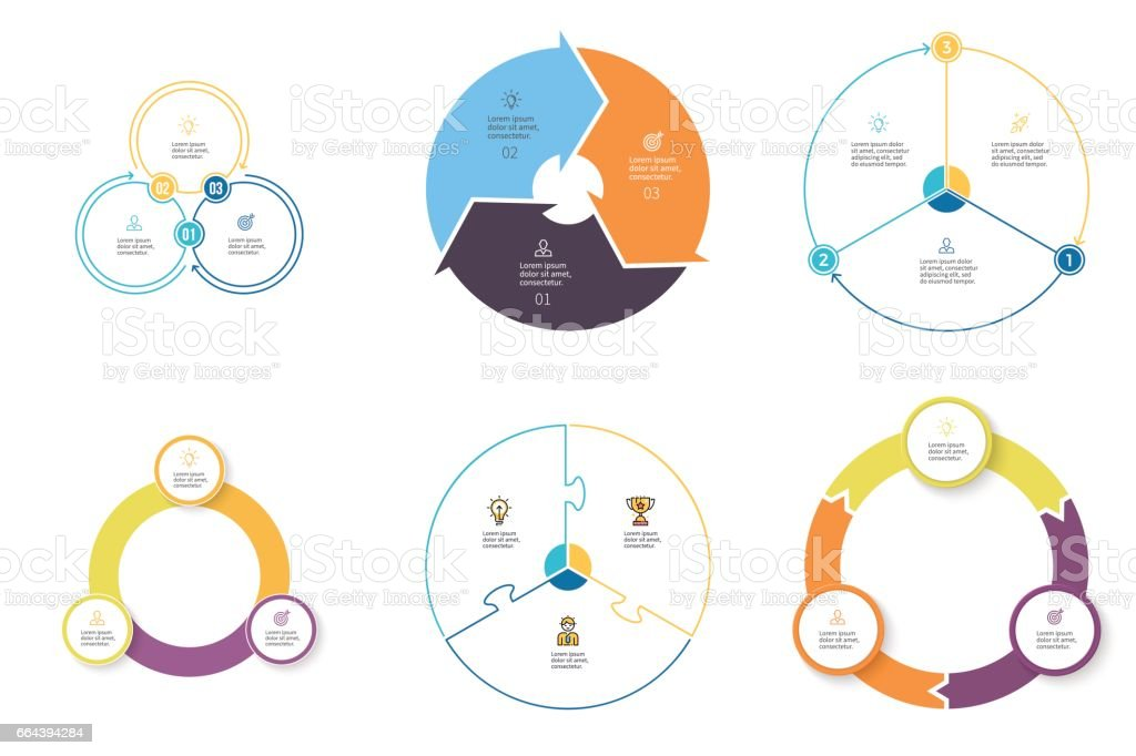 Business infographics. Diagrams with 3 steps, options. Vector pie charts. vector art illustration