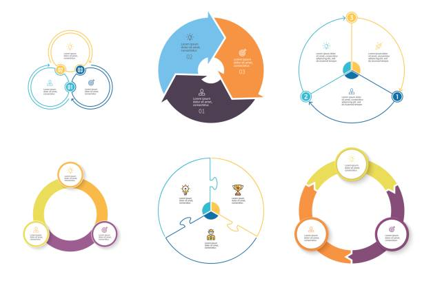 business infographics. diagrams with 3 steps, options. vector pie charts. - pie chart stock illustrations, clip art, cartoons, & icons