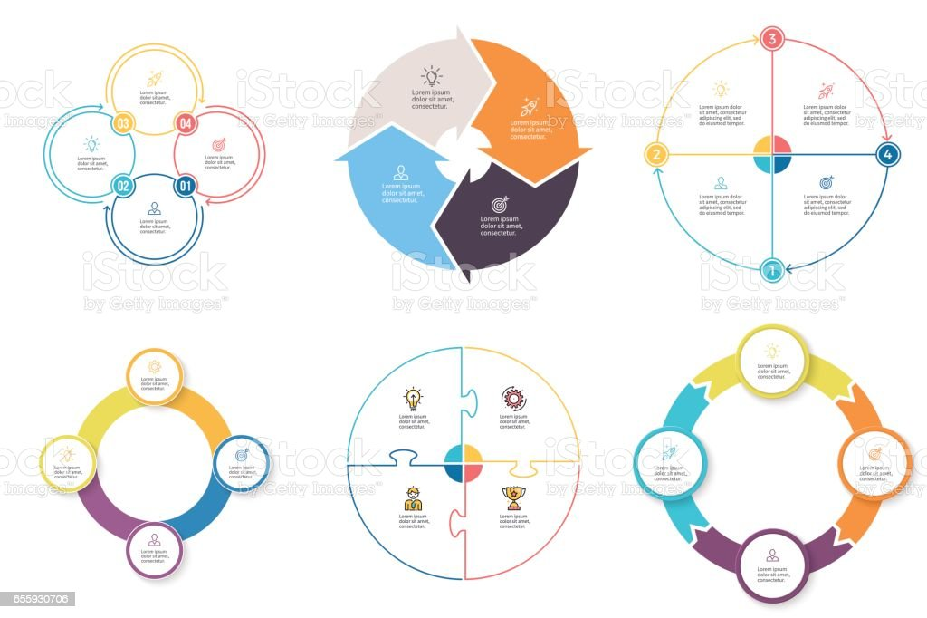 Business infographics. Diagrams with 4 steps, options. Vector pie charts. vector art illustration