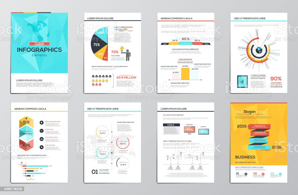 Business infographics elements for corporate brochures vector art illustration