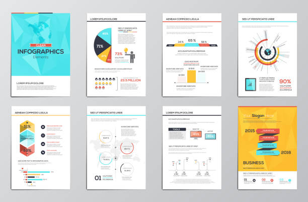 business infographics elements for corporate brochures - demographics infographics stock illustrations, clip art, cartoons, & icons